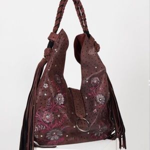 🌼FREE PEOPLE🌼FIRM SUEDE FLORAL TASSEL HOBO BAG